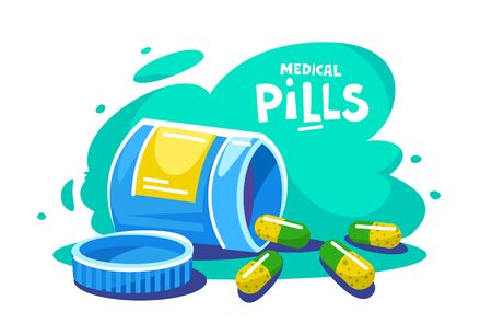 Organic medical pills falling from jar with lid. Cartoon flat, Isolated on white background. Eps10 vector illustration. Illustration