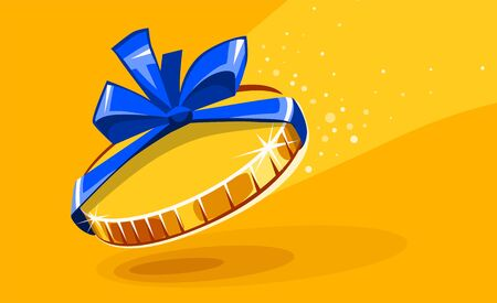 10 cents coin in gift wrapping with bow blue ribbon. Falling money creative concept. Vector illustration. Illustration