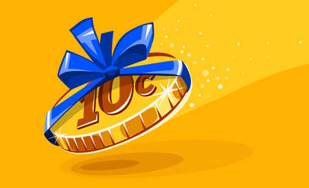 10 cents coin in gift wrapping with bow blue ribbon. Creative concept of inadequate assessments of work costs. Unfair business and exploitation for small earnings. Work for food. Vector illustration. Illustration