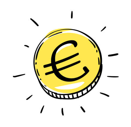 One euro coin of EURO European Union money. Gold Penny Coin shining currency symbol. Best offer and super sale price creative concept. Vector illustration Illustration