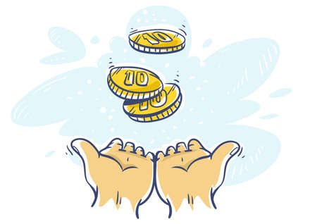 Cashback Concept. Human hands katching 10 cents coins of very small amount of money. Gold Coin shining currency symbol. Best offer and super sale price creative concept. Vector illustration