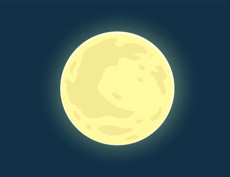 Full moon. Bright Moon on nighttime blue sky. Eps10 vector illustration.