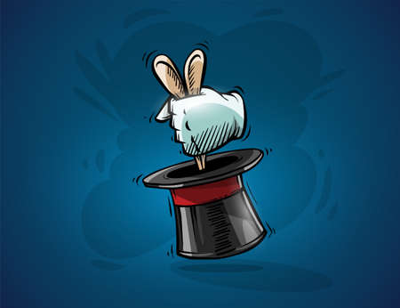 Magical focus trick. Cartoon hand of magician gets ears of hare rabbit from top hat cylinder. Hand drawn draft sketch, on blue background. Eps10 vector illustration.