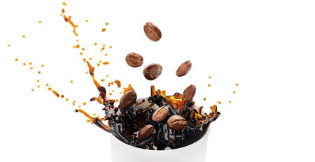 Hot takeway espresso morning coffee splash in cardboard paper cup. Coffee to go fragrant drink splashes. Falling down coffee beans isolated on white background. Banner design. 3d rendered illustration