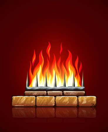 Burning flames of hot fire in brick stones fireplace on red background vector illustration, eps10. Heating source chimney for home.
