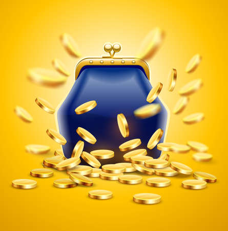 Classic vintage luxury purse with gold coins money crumbling and falling down. Jackpot concept vector illustration,
