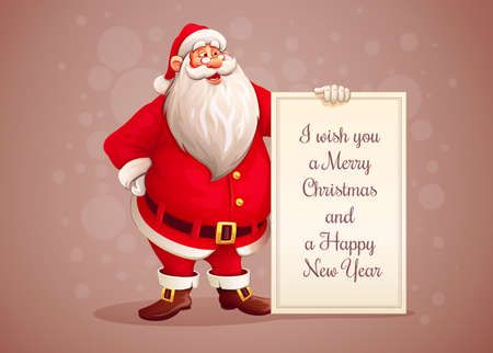 Merry Santa Claus standing with christmas greetings banner in arm. Illustration.
