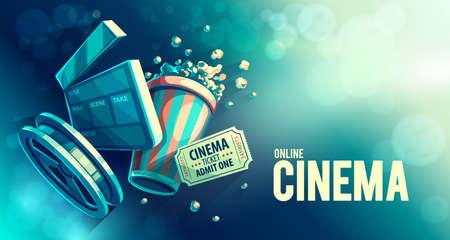 Online cinema art movie watching with popcorn and film-strip cinematograph concept vintage retro colors. Eps10 vector illustration. Foto de archivo
