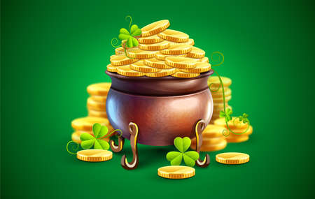 Pot with gold coins for Saint Patricks Day Holiday. Hidden treasures from Irish traditions. Green leaves of clover plant. Eps10 vector illustration.