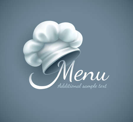 Menu with chef cap. vector illustration. Gradient mesh used Stock Photo