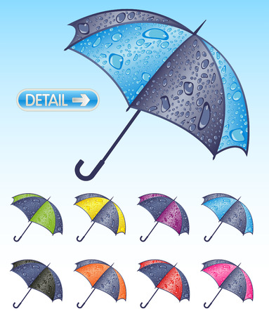 torrential rain: A selection of colorful umbrellas covered in water droplets Illustration