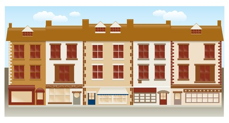 shop window: A row of cute town houses Illustration