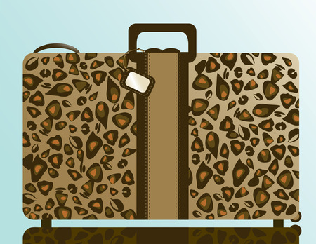 Suitcase illustration with a leopard skin pattern and luggage tag. Vector