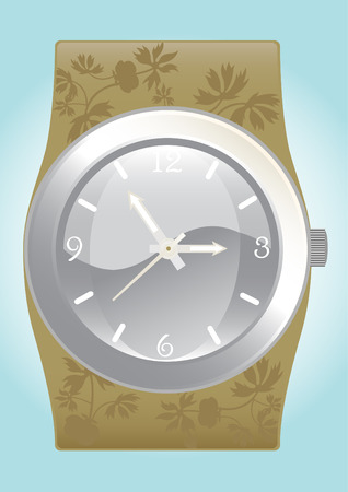 bezel: Illustration of a fashionable ornate wristwatch