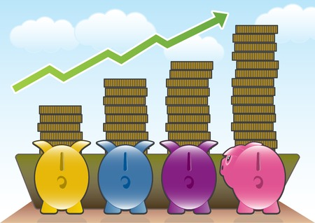 Four Piggy Banks eating from a trough of money. Stock Vector - 5205030