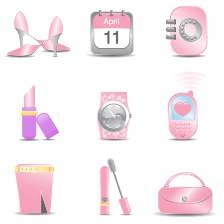 A selection of office girls essentials in pink  Vector