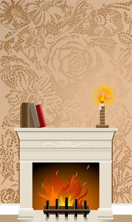 Fire place featuring wallpaper background made of flowers Stock fotó - 5232105