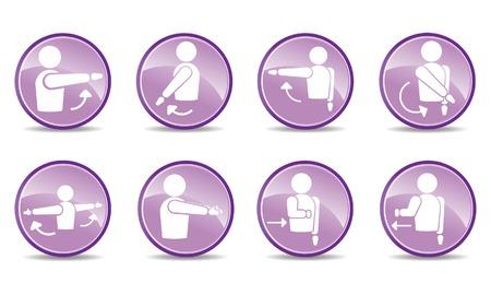 schulter: 8 Schulter-Aktionssymbole  Illustration