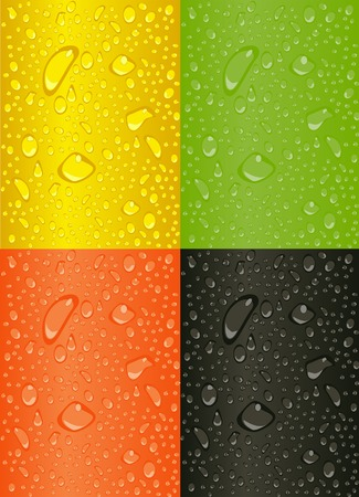 Water Drops on different colored backgrounds. Stock Vector - 5232106