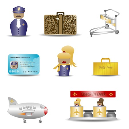 A colorful range of airport icons  Stock Vector - 5243519