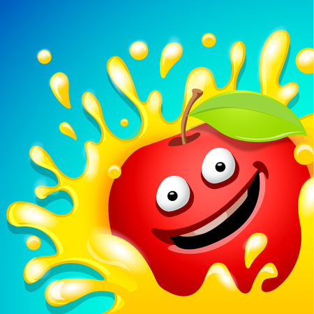 Cartoon vector character. Fresh apple juice illustration.