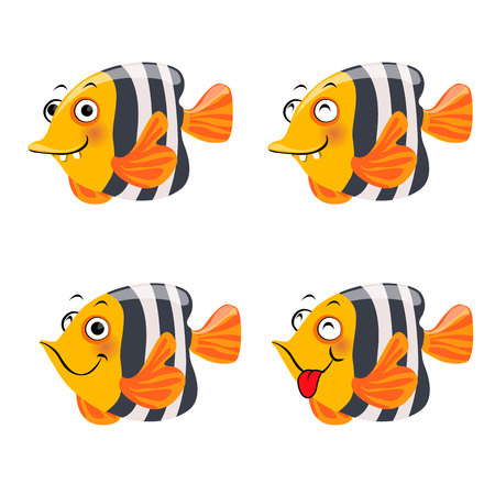 Funny fish character, isolated on white background