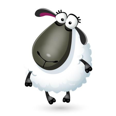 Vector illustration of funny cartoon sheep character