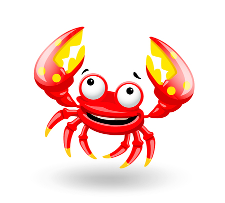 Smiling red sea cartoon crab on white background. Vector illustration.