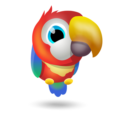 Cartoon color cute parrot, isolated on white