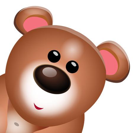Sweet Teddy bear cartoon portrait on white background. Vector illustration.