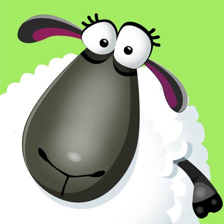 Sweet funny cartoon sheep portrait. Vector illustration.