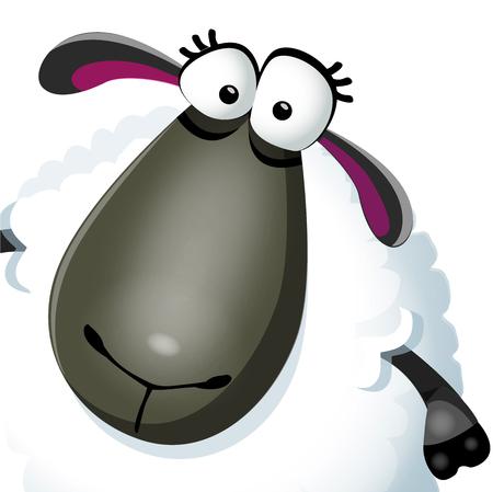 Sweet funny cartoon sheep portrait kids character. Vector illustration on white background. Illustration