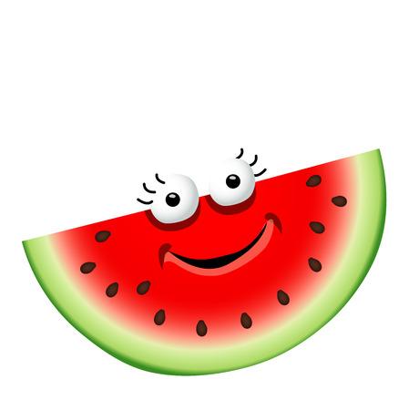 Fun cute cartoon watermelon character.Vector illustration, isolated, clip-art