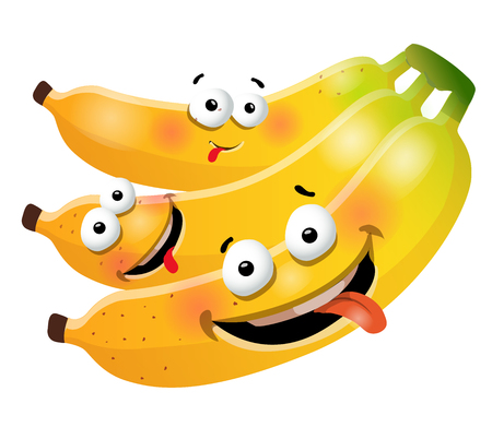 Fun cute bunch banana cartoon characters. Vector illustration, isolated, clip-art