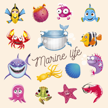Marine life. Cartoon fun sea and ocean animals set. Vector illustration, isolated on white background Ilustração