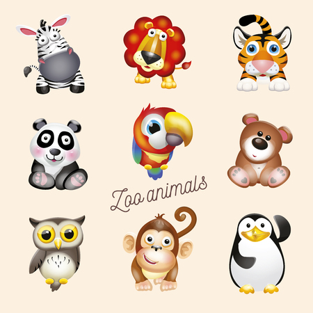 Zoo life. Cartoon fun zoo animals set. Vector illustration, isolated on white background