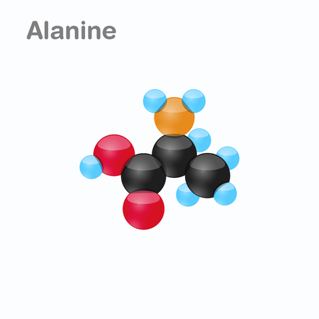 Molecule of Alanine Ala an amino acid used in the biosynthesis of proteins Vector Illustration, isolated Ilustração