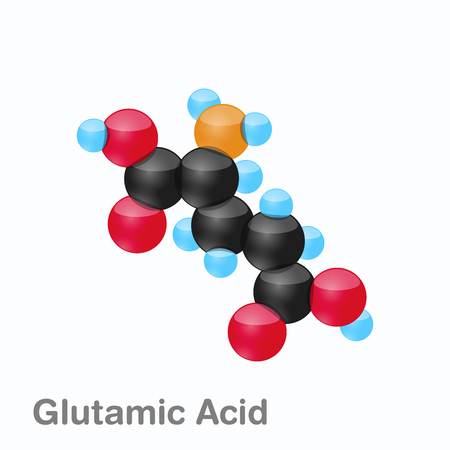 Molecule of Glutamic acid, Glu, an amino acid used in the biosynthesis of proteins