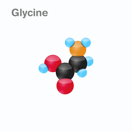 Molecule of Glycine, Gly, an amino acid used in the biosynthesis of proteins