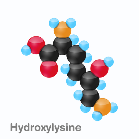 Molecule of Hydroxylysine, Hyl, an amino acid used in the biosynthesis of proteins Illustration