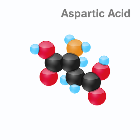 Molecule of Aspartic acid, Asp, an amino acid used in the biosynthesis of proteins, Vector illustration
