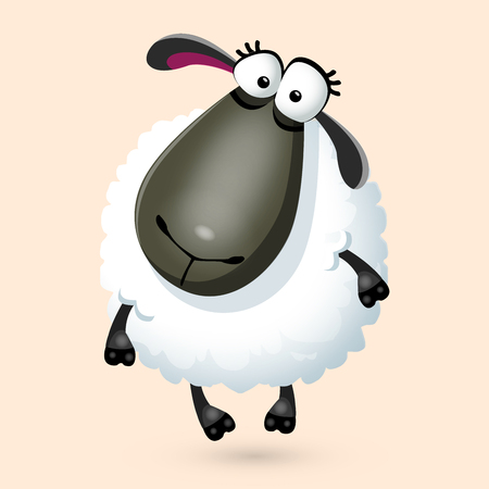 Fun cartoon sheep character. Illustration, isolated on white background