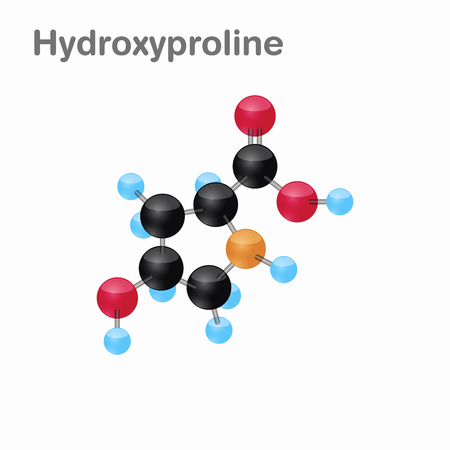Molecular omposition and structure of Hydroxyproline, Hyp, best for books and education Illustration