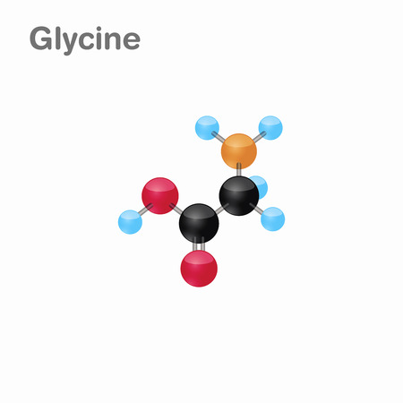 Molecular omposition and structure of Glycine, Gly, best for books and education