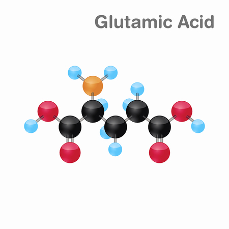 Molecular omposition and structure of Glutamic acid, Glu, best for books and education Ilustração
