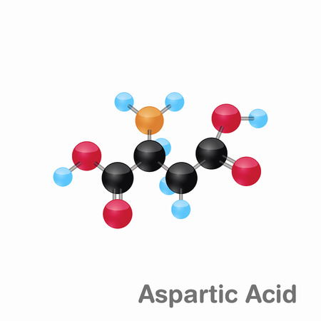 Molecular omposition and structure of Aspartic acid, Asp, best for books and education Ilustração
