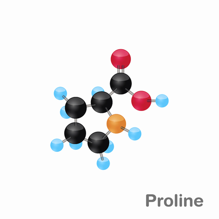 Molecular omposition and structure of Proline, Pro, best for books and education Illustration