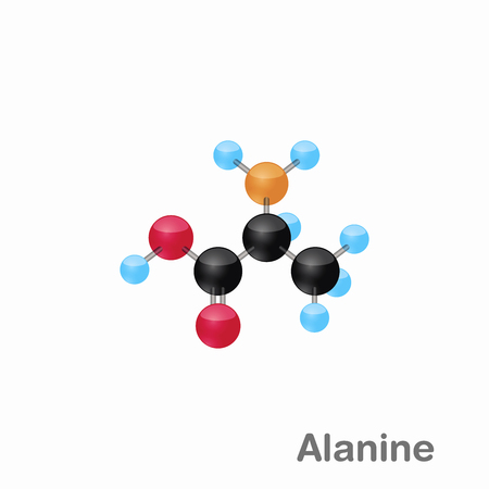 Molecular omposition and structure of Alanine, Ala, best for books and education