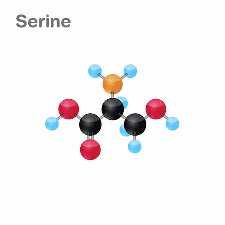 Molecular omposition and structure of Serine, Ser, best for books and education Illustration