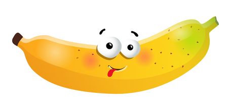 Fun banana cartoon character. Vector illustration, isolated, on a white background